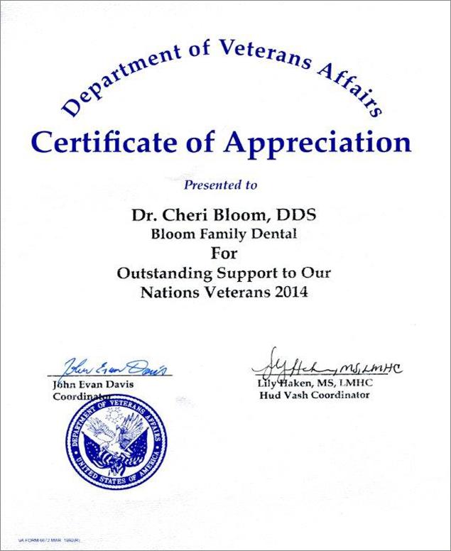 Meet drcheri bloom for Veterans certificate of appreciation
